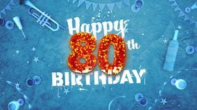 Happy 80th Birthday Card with beautiful details. Such as wine bottle, champagne glasses, garland, pennant, stars and confetti. Blue background, red and yellow vector illustration