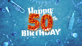 Happy 50th Birthday Card with beautiful details royalty free illustration