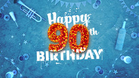 Happy 90th Birthday Card with beautiful details. Such as wine bottle, champagne glasses, garland, pennant, stars and confetti. Blue background, red and yellow Stock Photo