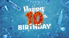 Happy 10th Birthday Card with beautiful details. Such as wine bottle, champagne glasses, garland, pennant, stars and confetti. Blue background, red and yellow Stock Photos