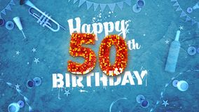 Happy 50th Birthday Card with beautiful details. Such as wine bottle, champagne glasses, garland, pennant, stars and confetti. Blue background, red and yellow vector illustration