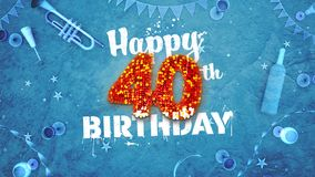Happy 40th Birthday Card with beautiful details. Such as wine bottle, champagne glasses, garland, pennant, stars and confetti. Blue background, red and yellow stock illustration