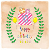Happy 10th birthday card on orange watercolor Royalty Free Stock Image