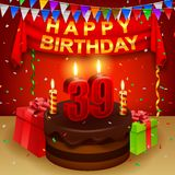 Happy 39th Birthday with chocolate cream cake and triangular flag Stock Photo