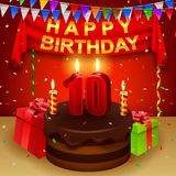 Happy 10th Birthday with chocolate cream cake and triangular flag Stock Images
