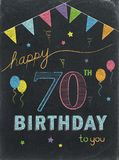 HAPPY 70th BIRTHDAY! color chalk lettering card vector illustration