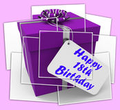 Happy 18th Birthday Gift Displays Celebrating Eighteen Years. Happy 18th Birthday Gift Displaying Celebrating Eighteen Years Royalty Free Stock Photo