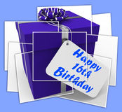 Happy 16th Birthday Gift Displays Congratulations Age Sixteen Stock Photography