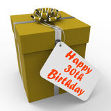Happy 30th Birthday Gift Shows Age Thirty Stock Image