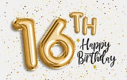 Happy 16th birthday gold foil balloon greeting background. 16 years anniversary logo template- 16th celebrating with confetti. Photo stock royalty free illustration