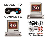 Happy 40th and 30th birthday graphic tee design set for T-Shirts, posters, prints. Retro video gamers controller and. Quote - level 40 unlocked. Funny stock illustration