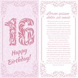 Happy 16th Birthday. Greeting card. Happy 16th Birthday. Pink greeting card with space for text stock illustration