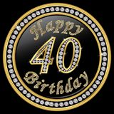 Happy 40th birthday, happy birthday 40 years, golden icon with d. Iamonds, vector illustration vector illustration