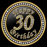 Happy 30th birthday, happy birthday 30 years, golden icon with d. Iamonds, vector illustration Stock Images