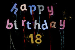 Happy 18th Birthday party. Banner in colorful glitter letters and numbers. Party poppers, stars and confetti add to the party feel of this fun poster or Royalty Free Stock Images