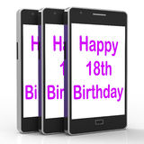 Happy 18th Birthday On Phone Means Eighteen. Happy 18th Birthday On Phone Meaning Eighteen Royalty Free Stock Photos
