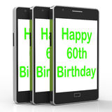 Happy 60th Birthday Smartphone Shows Reaching Sixty Years Stock Images