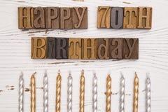 Happy 70th Birthday Spelled in Type Set