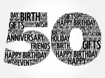 Happy 50th birthday word cloud vector illustration
