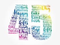 Happy 45th birthday word cloud