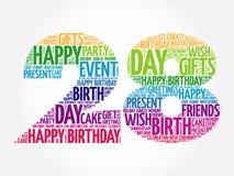 Happy 28th birthday word cloud