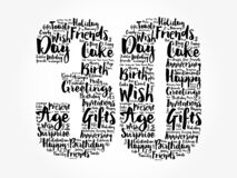 Happy 30th birthday word cloud, holiday concept background