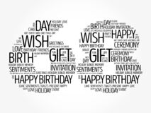 Happy 68th birthday word cloud, holiday concept background