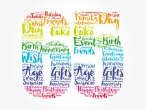 Happy 65th birthday word cloud, holiday concept background