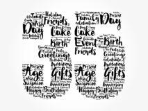 Happy 35th birthday word cloud, holiday concept background