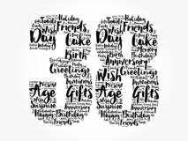 Happy 38th birthday word cloud, holiday concept background