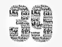 Happy 39th birthday word cloud, holiday concept background