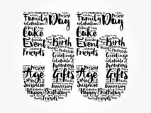 Happy 55th birthday word cloud, holiday concept background