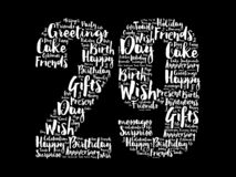 Happy 29th birthday word cloud, holiday concept background