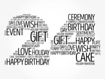 Happy 24th birthday word cloud, holiday concept background