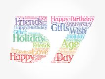 Happy 57th birthday word cloud. holiday concept background