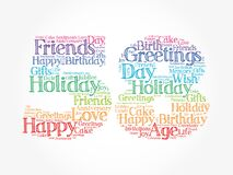 Happy 58th birthday word cloud, holiday concept background