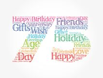 Happy 75th birthday word cloud, holiday concept background