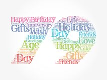 Happy 79th birthday word cloud, holiday concept background