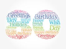 Happy 80th birthday word cloud, holiday concept background
