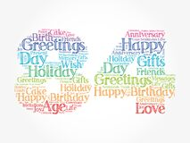 Happy 84th birthday word cloud, holiday concept background