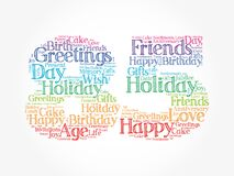 Happy 85th birthday word cloud, holiday concept background