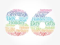 Happy 86th birthday word cloud, holiday concept background