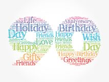 Happy 90th birthday word cloud, holiday concept background