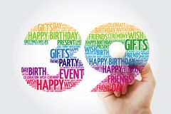 Happy 39th birthday word cloud with marker, collage concept