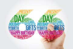 Happy 66th birthday word cloud with marker, collage concept