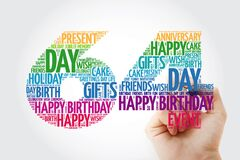 Happy 64th birthday word cloud with marker, collage concept