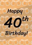 Happy 40th birthday written in black with chinking beer mugs in repeat on pale brown background