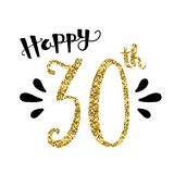 HAPPY 30th hand-lettered gold glitter card. HAPPY 30th hand-lettered card.  Gold glitter and black.  Square format.  Vector Stock Photo