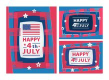Happy 4th of July Abstract illustration with paper cut shapes. Happy 4th of July 3D abstract illustration with paper cut shapes Royalty Free Illustration