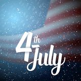 Happy The 4th of July America Flag. Illustration of USA Independence Day Vector Poster. Happy The 4th of July America Flag on Blue Background with Stars and Stock Photo